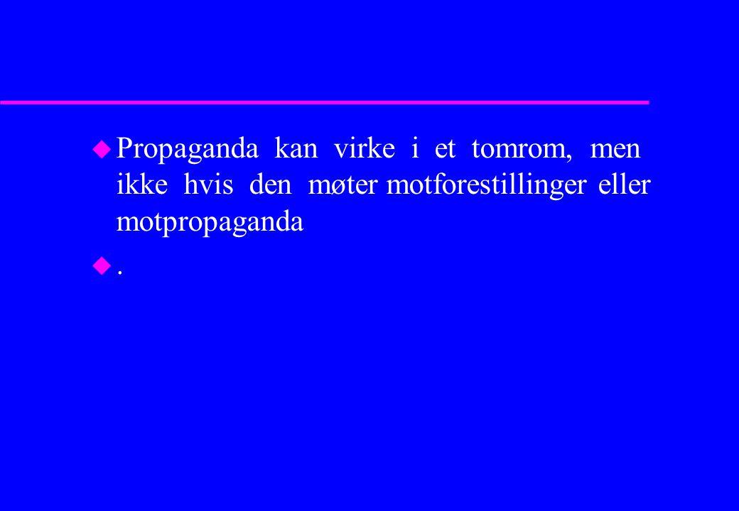 u Propaganda kan virke i et tomrom, men ikke hvis den møter motforestillinger eller motpropaganda u.