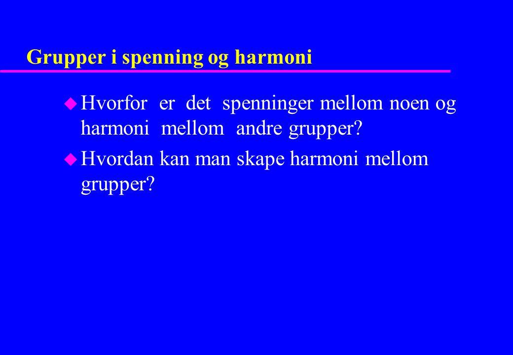 Grupper i spenning og harmoni u Hvorfor er det spenninger mellom noen og harmoni mellom andre grupper? u Hvordan kan man skape harmoni mellom grupper?