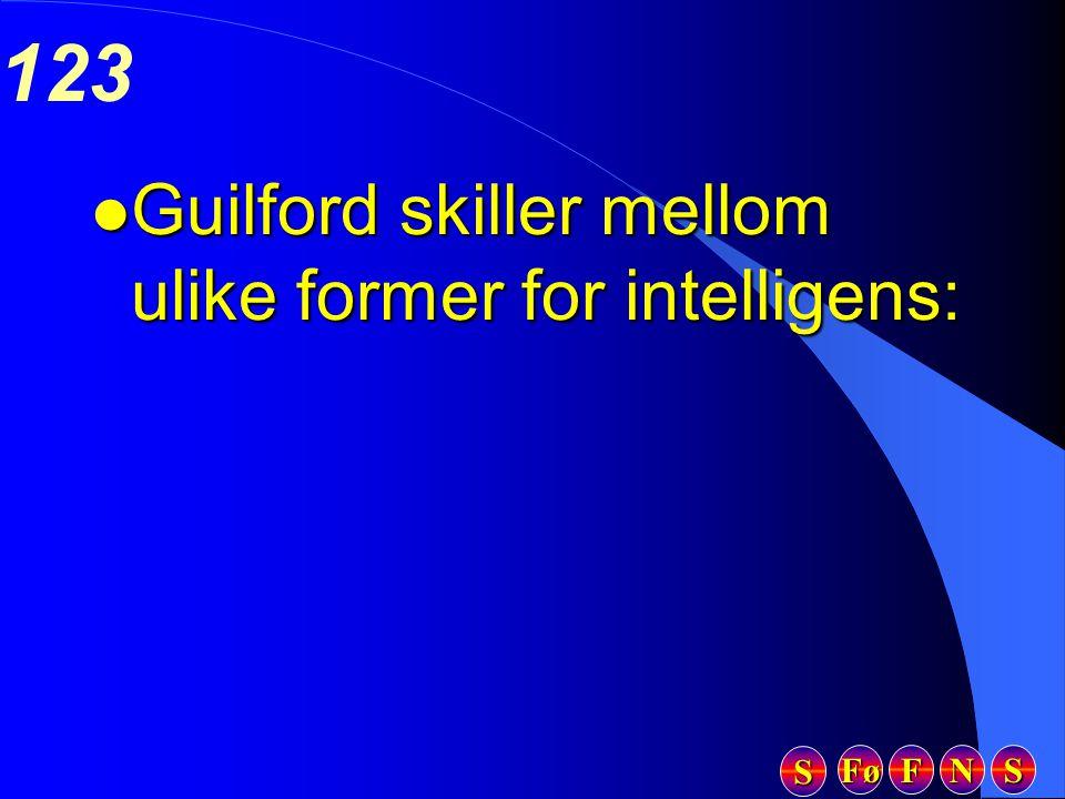 Fø FFFF NNNN SSSS SSSS 123 l Guilford skiller mellom ulike former for intelligens: