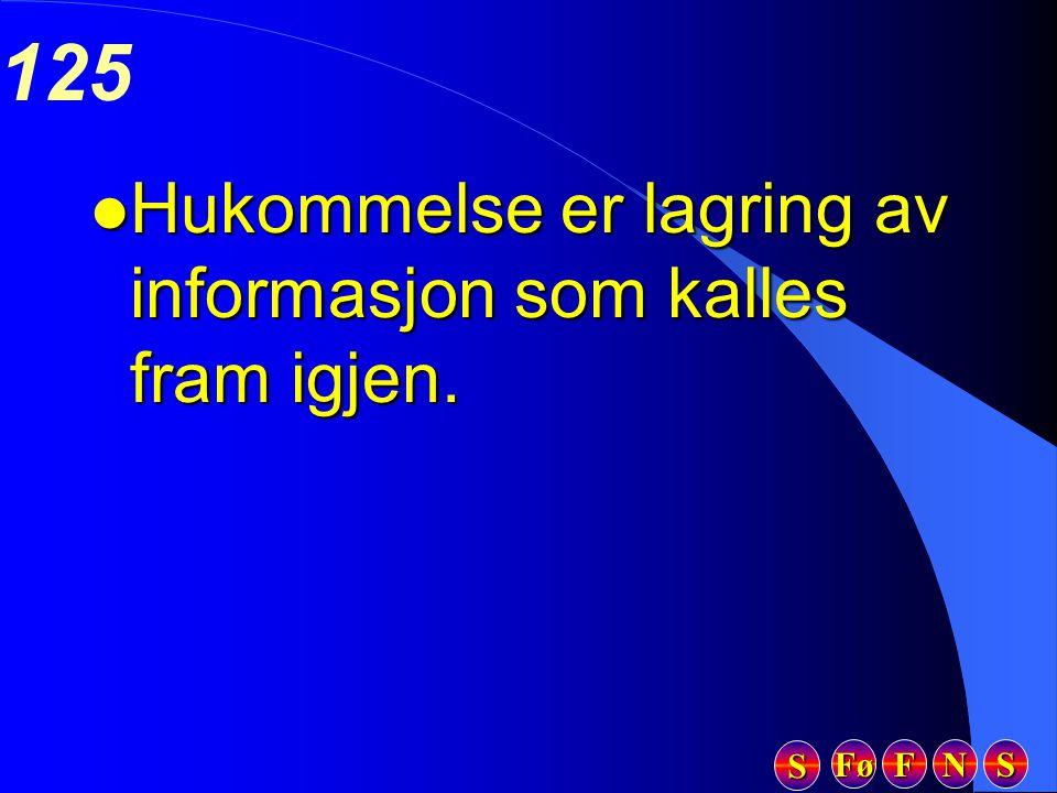 Fø FFFF NNNN SSSS SSSS 125 l Hukommelse er lagring av informasjon som kalles fram igjen.