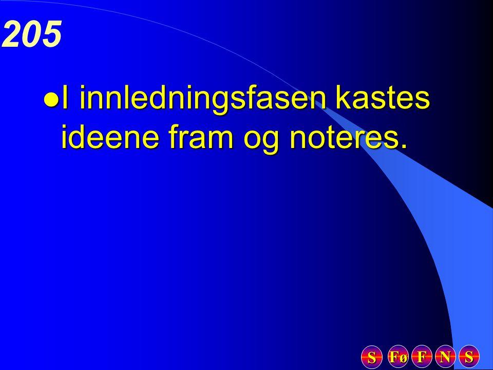 Fø FFFF NNNN SSSS SSSS 205 l I innledningsfasen kastes ideene fram og noteres.