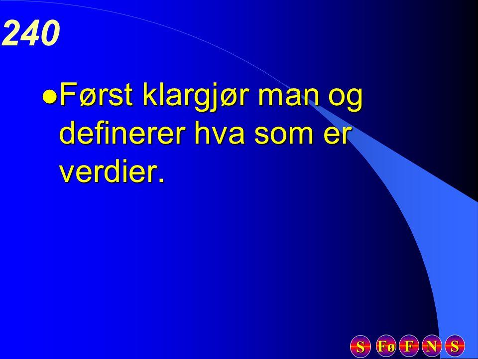 Fø FFFF NNNN SSSS SSSS 240 l Først klargjør man og definerer hva som er verdier.