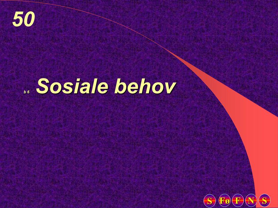 Fø FFFF NNNN SSSS SSSS 50 b 6 Sosiale behov