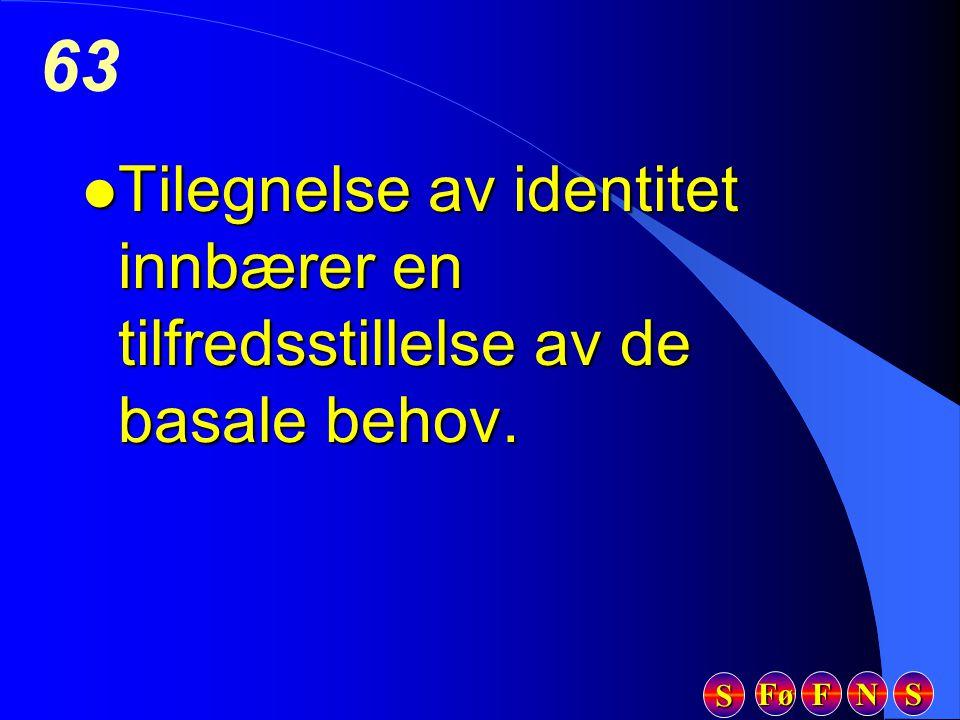 Fø FFFF NNNN SSSS SSSS 63 l Tilegnelse av identitet innbærer en tilfredsstillelse av de basale behov.