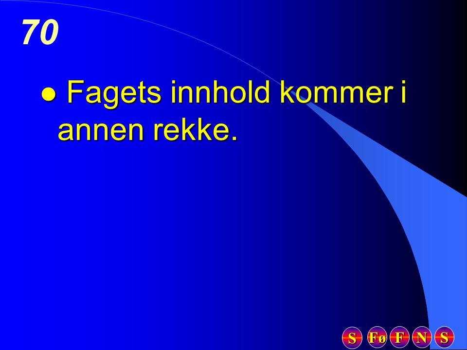 Fø FFFF NNNN SSSS SSSS 70 l Fagets innhold kommer i annen rekke.