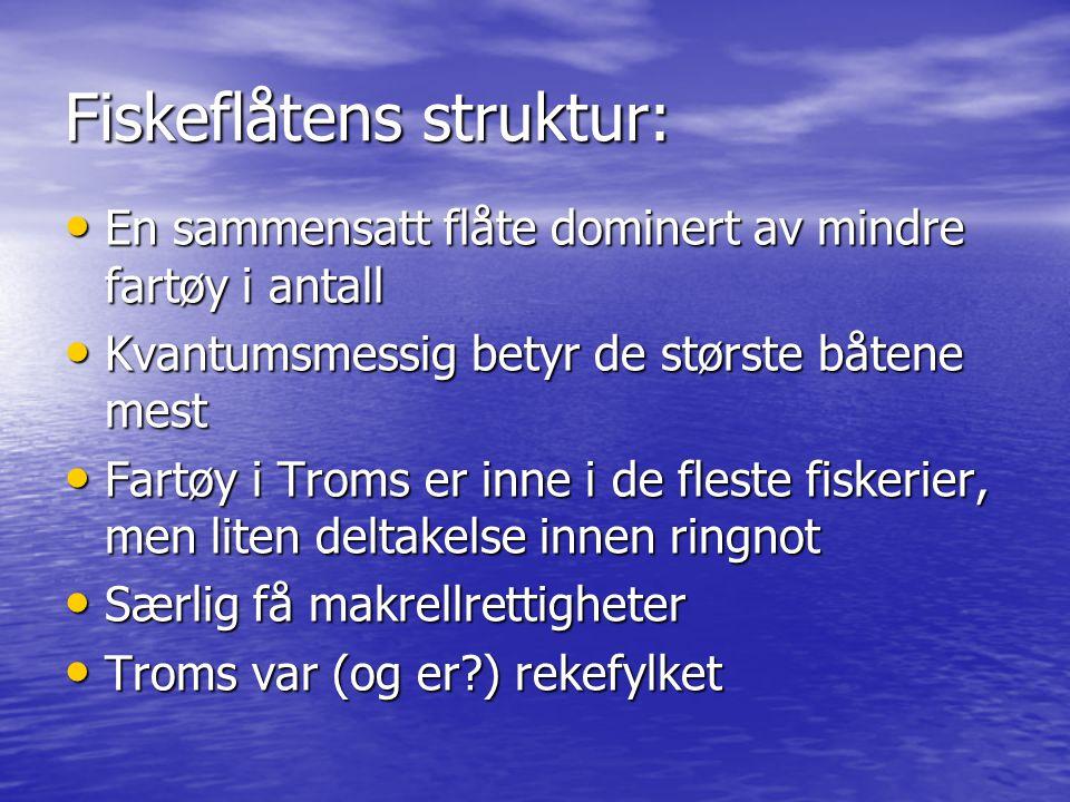Beskrivende for utviklingen: Omfattende strukturering både på hav og til lands Omfattende strukturering både på hav og til lands Antall kjøpere sterkt redusert => større avhengighet av mottaksstasjoner Antall kjøpere sterkt redusert => større avhengighet av mottaksstasjoner Antall fiskere sterkt redusert siden 1950 i Troms (fra 16253 til 2119 i 2007) Antall fiskere sterkt redusert siden 1950 i Troms (fra 16253 til 2119 i 2007) Kvantum fisket er like stort eller større Kvantum fisket er like stort eller større Hvor går nedre grense for antall fiskere/båter.