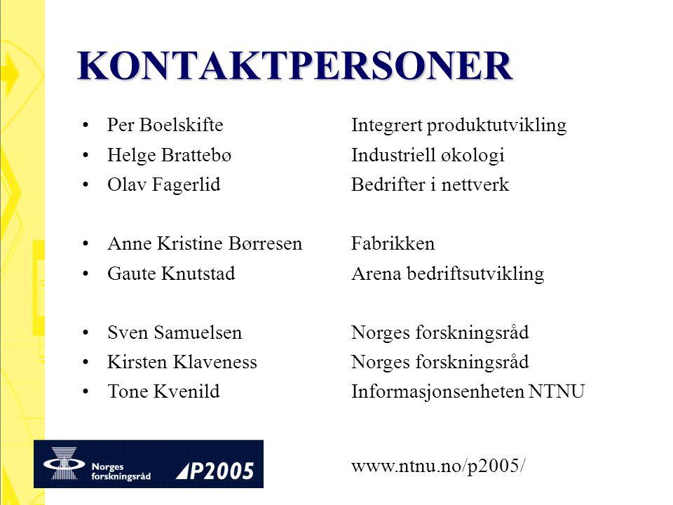 KONTAKTPERSONER Per Boelskifte Integrert produktutvikling Helge BrattebøIndustriell økologi Olav FagerlidBedrifter i nettverk Anne Kristine BørresenFa