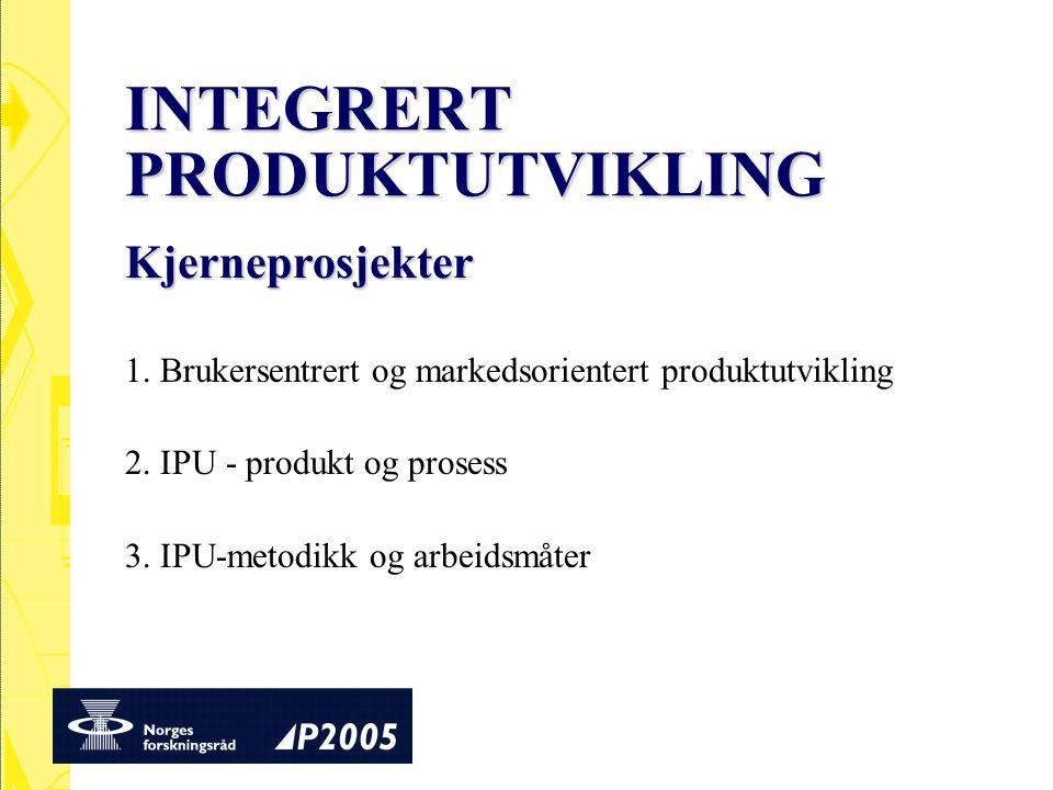 INTEGRERT PRODUKTUTVIKLING 1. Brukersentrert og markedsorientert produktutvikling 2. IPU - produkt og prosess 3. IPU-metodikk og arbeidsmåter Kjernepr