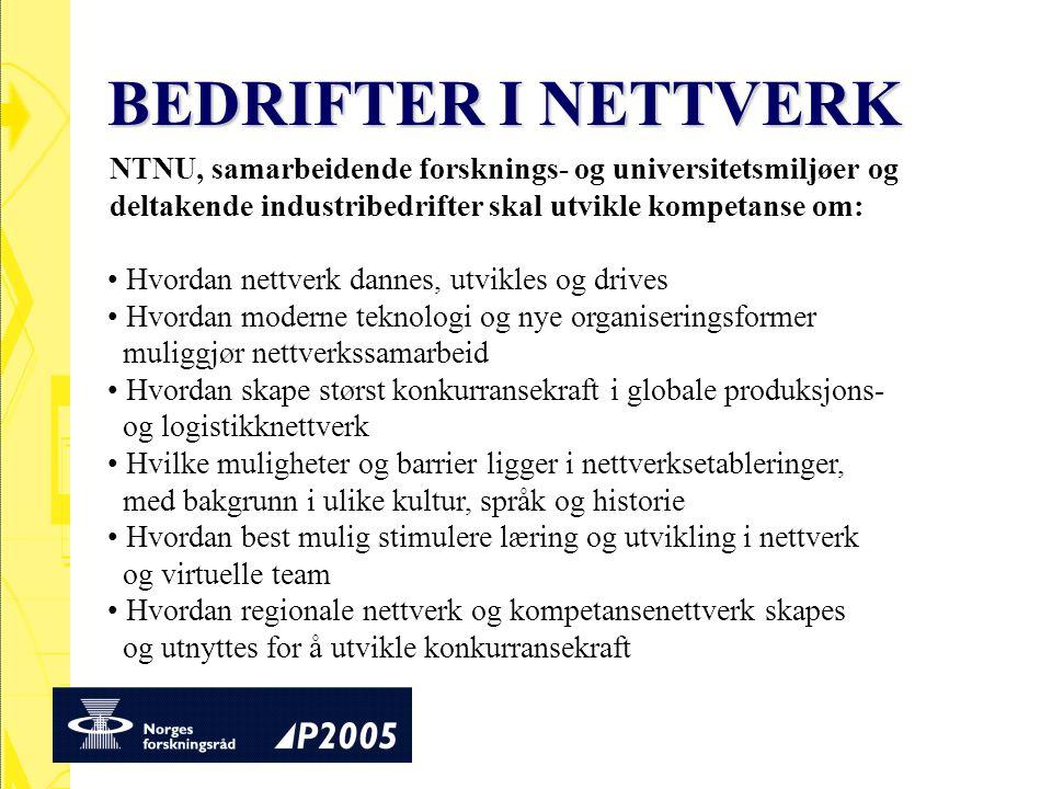 BEDRIFTER I NETTVERK NTNU, samarbeidende forsknings- og universitetsmiljøer og deltakende industribedrifter skal utvikle kompetanse om: Hvordan nettve