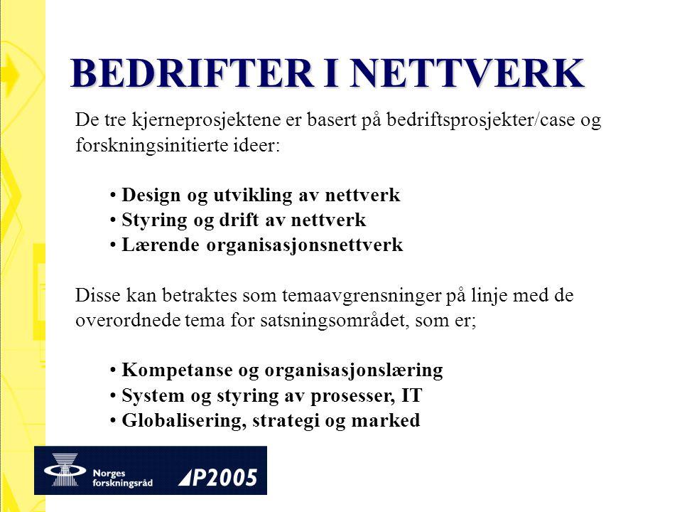 BEDRIFTER I NETTVERK De tre kjerneprosjektene er basert på bedriftsprosjekter/case og forskningsinitierte ideer: Design og utvikling av nettverk Styri