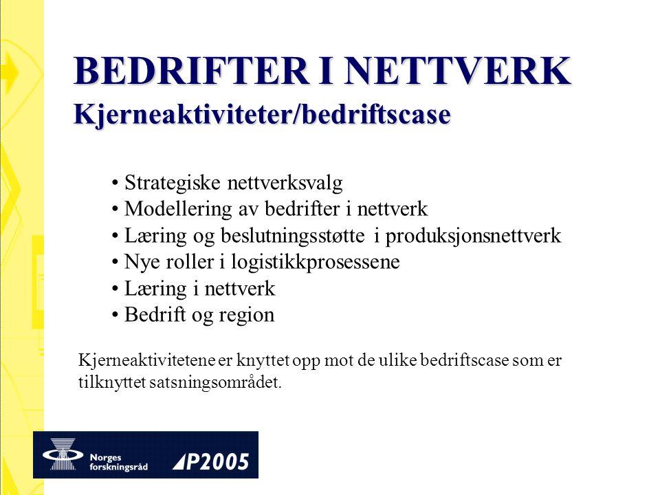 Strategiske nettverksvalg Modellering av bedrifter i nettverk Læring og beslutningsstøtte i produksjonsnettverk Nye roller i logistikkprosessene Lærin