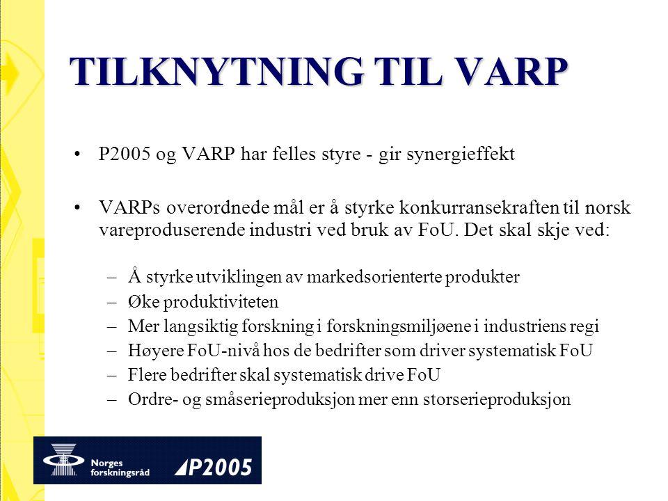 TILKNYTNING TIL VARP P2005 og VARP har felles styre - gir synergieffekt VARPs overordnede mål er å styrke konkurransekraften til norsk vareproduserend