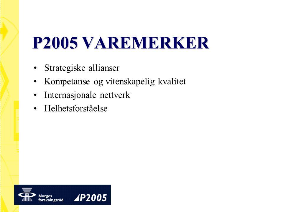 P2005 VAREMERKER Strategiske allianser Kompetanse og vitenskapelig kvalitet Internasjonale nettverk Helhetsforståelse