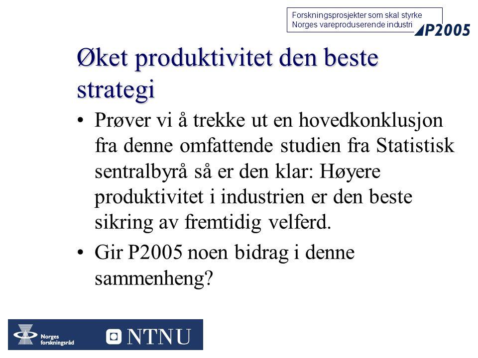 17 Forskningsprosjekter som skal styrke Norges vareproduserende industri Øket produktivitet den beste strategi Prøver vi å trekke ut en hovedkonklusjo