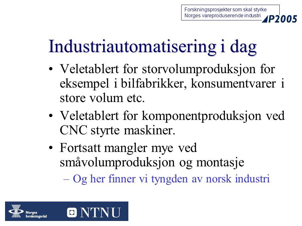 19 Forskningsprosjekter som skal styrke Norges vareproduserende industri Industriautomatisering i dag Veletablert for storvolumproduksjon for eksempel