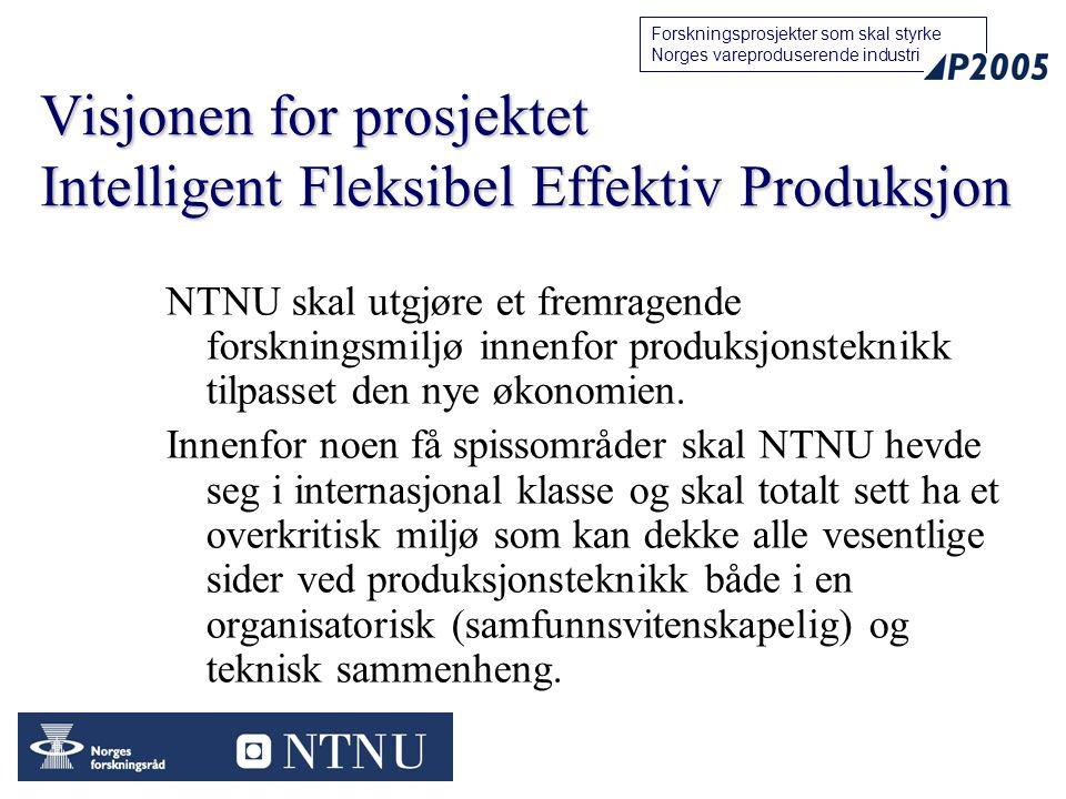 22 Forskningsprosjekter som skal styrke Norges vareproduserende industri Visjonen for prosjektet Intelligent Fleksibel Effektiv Produksjon NTNU skal u