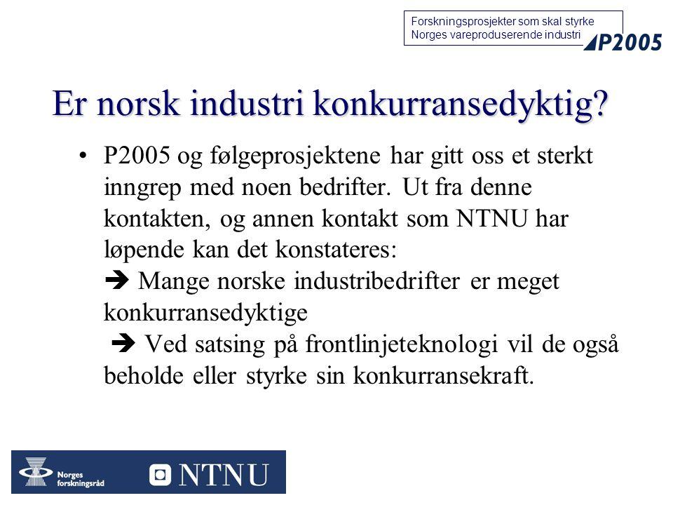 22 Forskningsprosjekter som skal styrke Norges vareproduserende industri Er norsk industri konkurransedyktig? P2005 og følgeprosjektene har gitt oss e