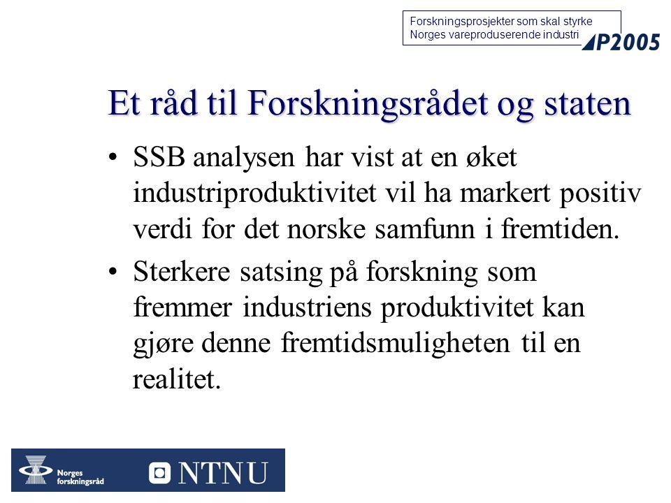 23 Forskningsprosjekter som skal styrke Norges vareproduserende industri Et råd til Forskningsrådet og staten SSB analysen har vist at en øket industr