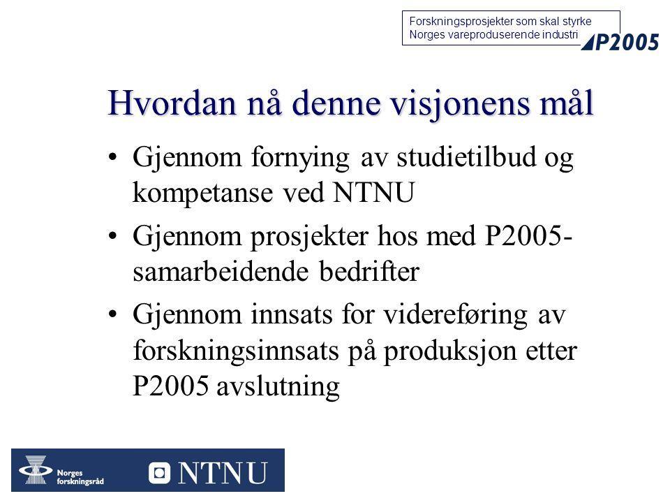 33 Forskningsprosjekter som skal styrke Norges vareproduserende industri Hvordan nå denne visjonens mål Gjennom fornying av studietilbud og kompetanse