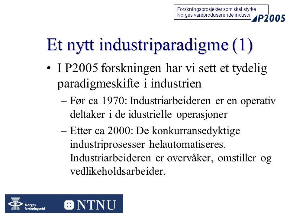44 Forskningsprosjekter som skal styrke Norges vareproduserende industri Et nytt industriparadigme (1) I P2005 forskningen har vi sett et tydelig para