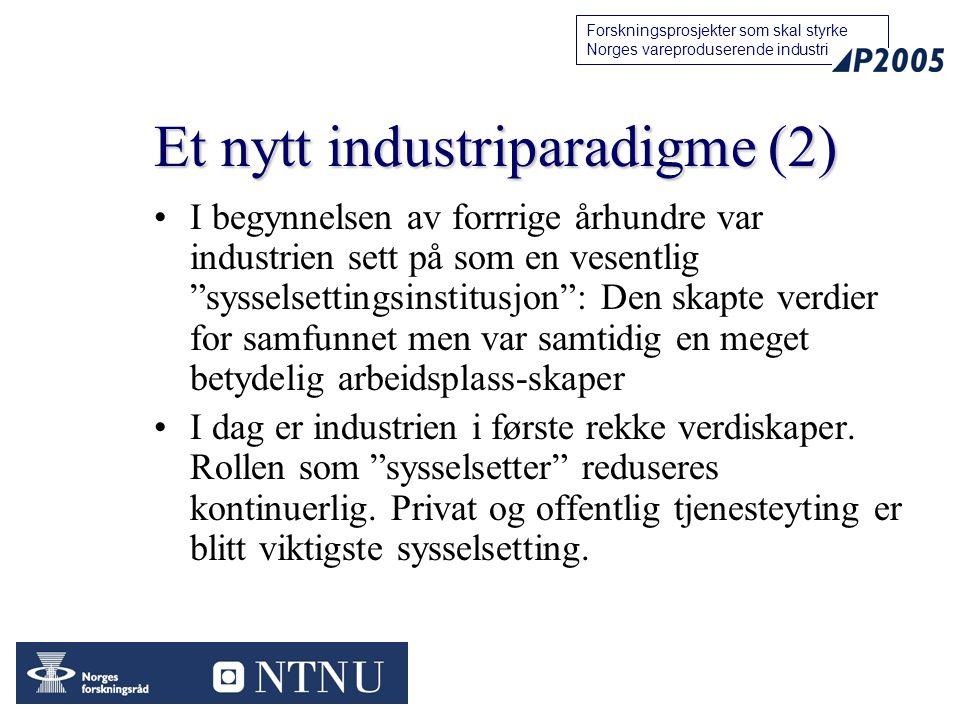 77 Forskningsprosjekter som skal styrke Norges vareproduserende industri Et nytt industriparadigme (2) I begynnelsen av forrrige århundre var industri