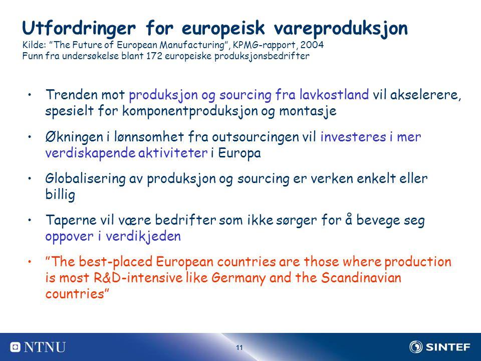 11 Utfordringer for europeisk vareproduksjon Kilde: The Future of European Manufacturing , KPMG-rapport, 2004 Funn fra undersøkelse blant 172 europeiske produksjonsbedrifter Trenden mot produksjon og sourcing fra lavkostland vil akselerere, spesielt for komponentproduksjon og montasje Økningen i lønnsomhet fra outsourcingen vil investeres i mer verdiskapende aktiviteter i Europa Globalisering av produksjon og sourcing er verken enkelt eller billig Taperne vil være bedrifter som ikke sørger for å bevege seg oppover i verdikjeden The best-placed European countries are those where production is most R&D-intensive like Germany and the Scandinavian countries