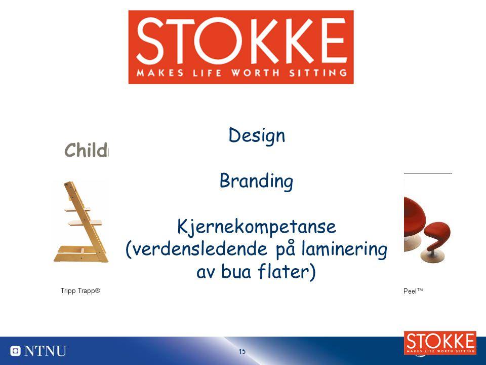 15 Children Tripp Trapp® Stokke Xplory™Stokke Peel™ Stokke Variable balans® Movement Design Branding Kjernekompetanse (verdensledende på laminering av bua flater)