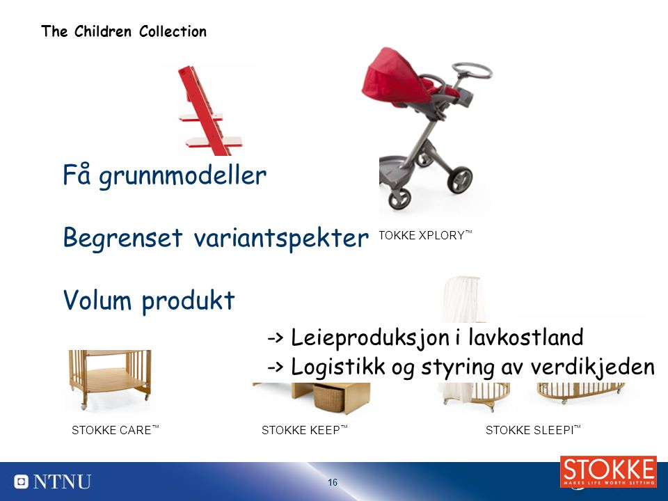 16 TRIPP TRAPP ® STOKKE SLEEPI ™ STOKKE CARE ™ STOKKE KEEP ™ STOKKE XPLORY ™ The Children Collection Få grunnmodeller Begrenset variantspekter Volum p