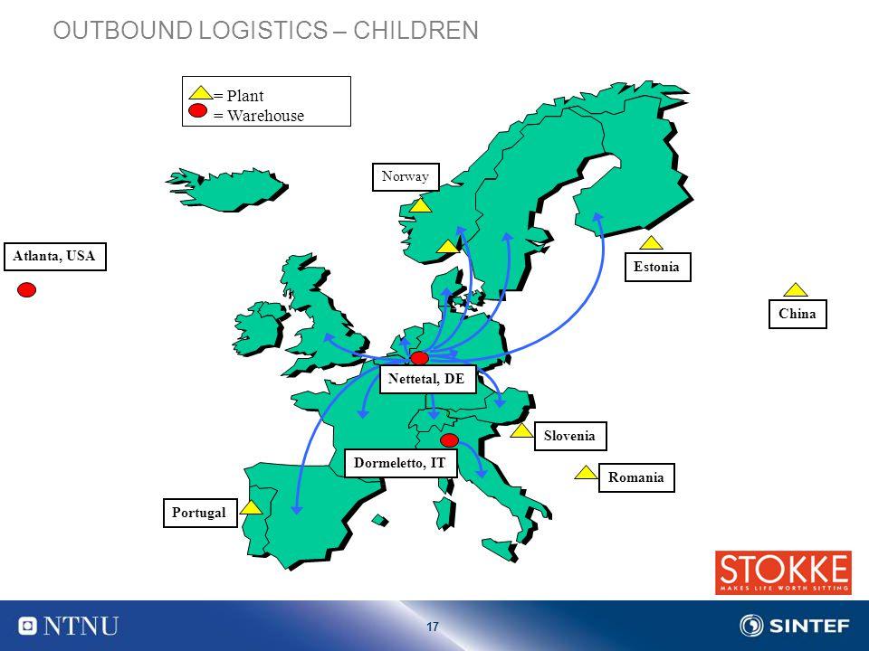 17 Nettetal, DE Norway Dormeletto, IT = Plant = Warehouse Slovenia Estonia Romania Portugal China OUTBOUND LOGISTICS – CHILDREN Atlanta, USA