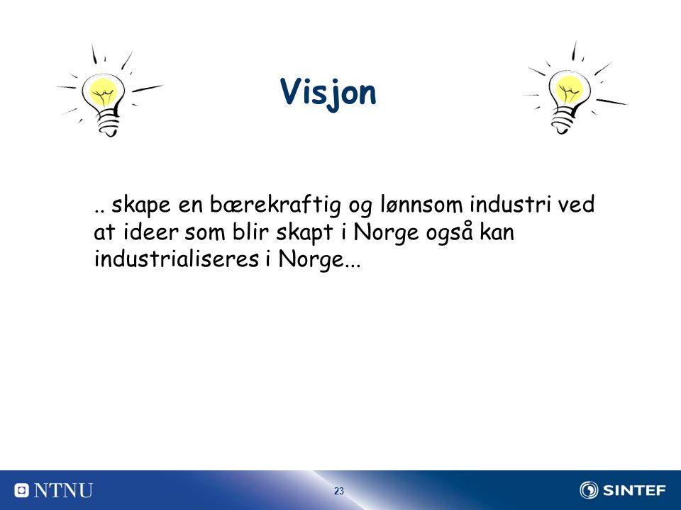 23 Visjon.. skape en bærekraftig og lønnsom industri ved at ideer som blir skapt i Norge også kan industrialiseres i Norge...