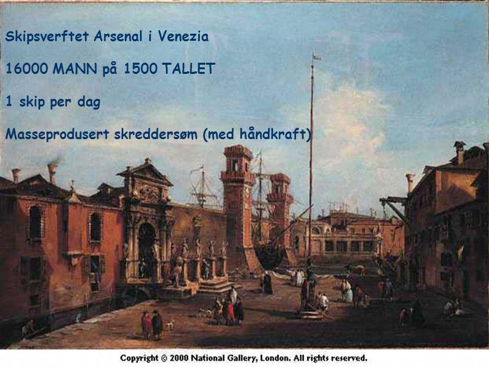 6 Skipsverftet Arsenal i Venezia 16000 MANN på 1500 TALLET 1 skip per dag Masseprodusert skreddersøm (med håndkraft)