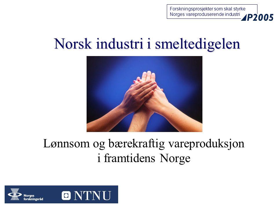 11 Forskningsprosjekter som skal styrke Norges vareproduserende industri Lønnsom og bærekraftig vareproduksjon i framtidens Norge Norsk industri i smeltedigelen
