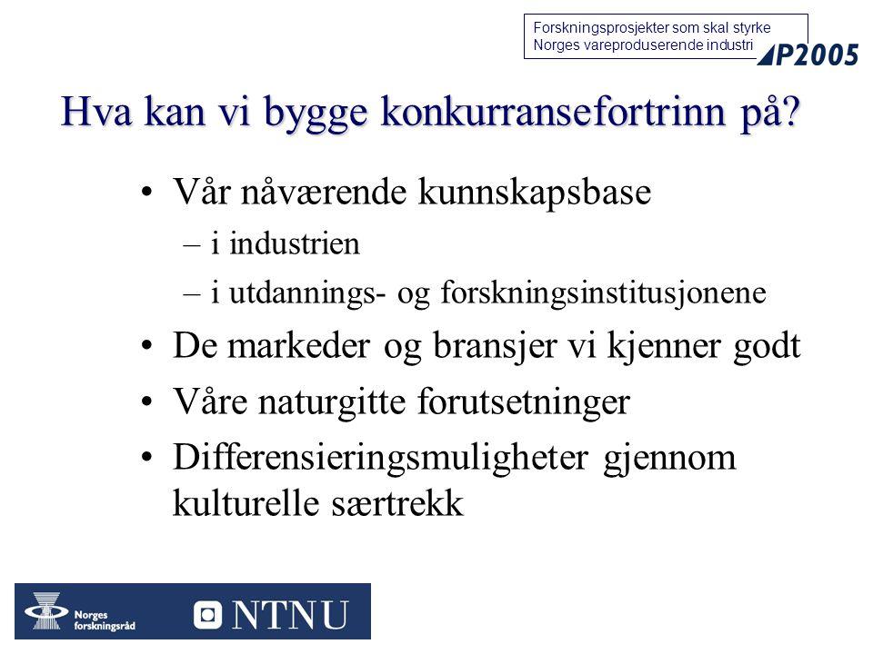 14 Forskningsprosjekter som skal styrke Norges vareproduserende industri Hva kan vi bygge konkurransefortrinn på.