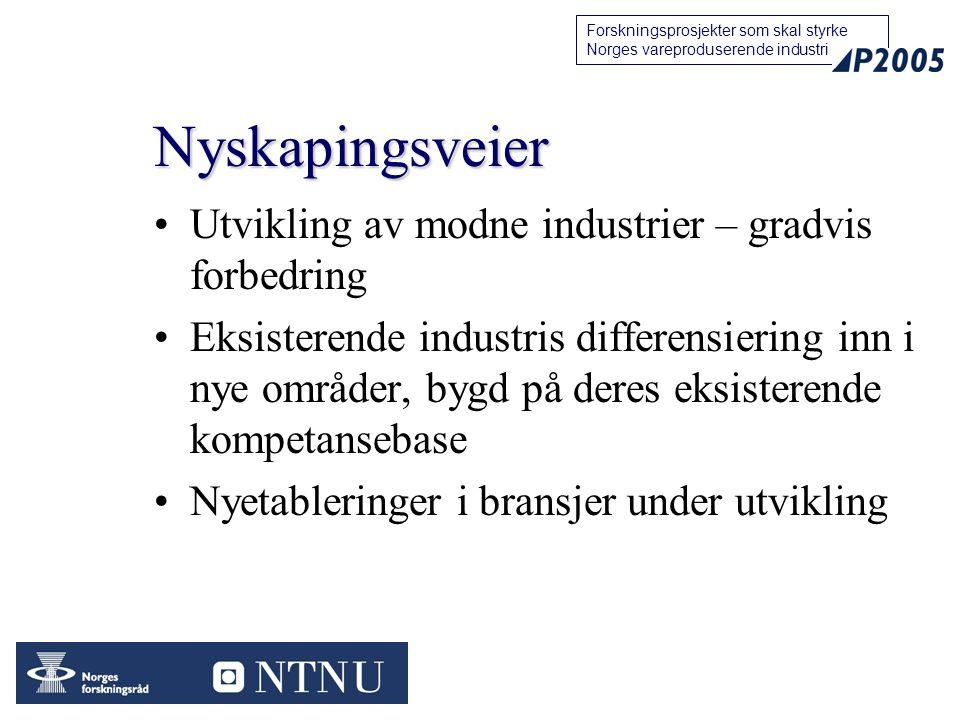 15 Forskningsprosjekter som skal styrke Norges vareproduserende industri Nyskapingsveier Utvikling av modne industrier – gradvis forbedring Eksisterende industris differensiering inn i nye områder, bygd på deres eksisterende kompetansebase Nyetableringer i bransjer under utvikling