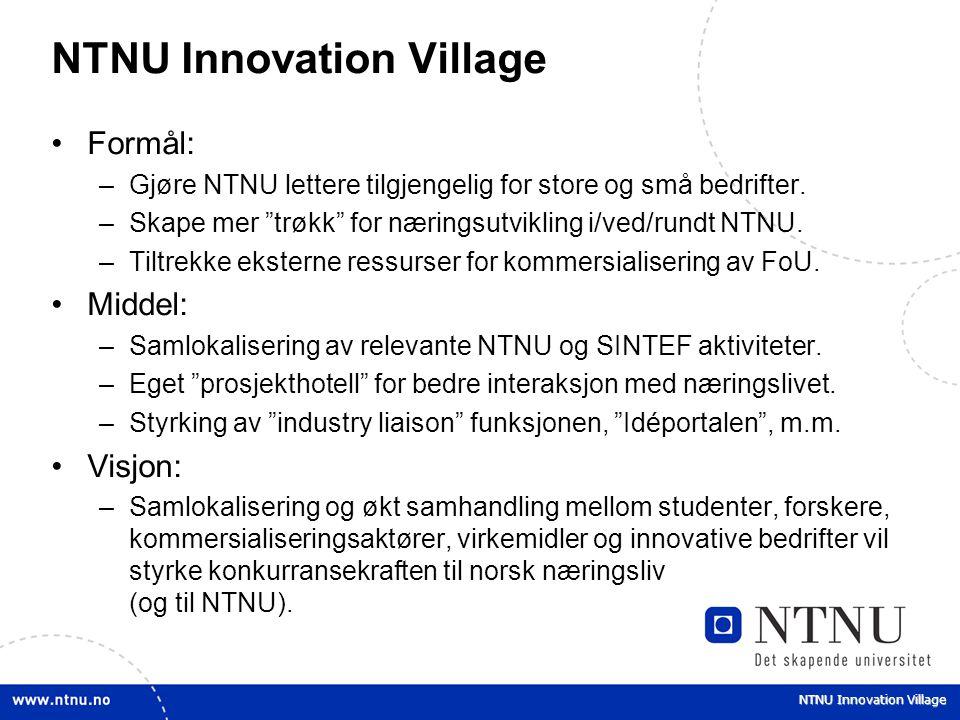 """NTNU Innovation Village Formål: –Gjøre NTNU lettere tilgjengelig for store og små bedrifter. –Skape mer """"trøkk"""" for næringsutvikling i/ved/rundt NTNU."""
