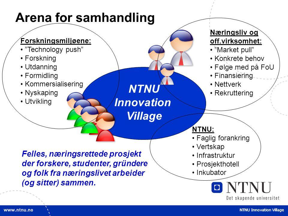 NTNU Innovation Village Arena for samhandling NTNU Innovation Village NTNU: Faglig forankring Vertskap Infrastruktur Prosjekthotell Inkubator Næringsl