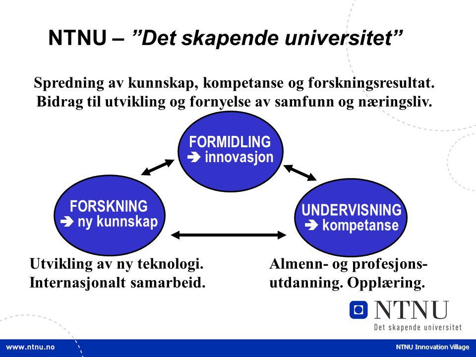 """NTNU Innovation Village NTNU – """"Det skapende universitet"""" FORSKNING  ny kunnskap FORMIDLING  innovasjon UNDERVISNING  kompetanse Spredning av kunns"""