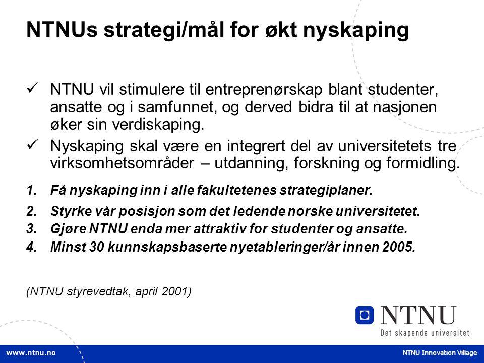 NTNU Innovation Village NTNUs strategi/mål for økt nyskaping NTNU vil stimulere til entreprenørskap blant studenter, ansatte og i samfunnet, og derved