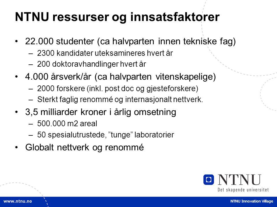 NTNU Innovation Village NTNU ressurser og innsatsfaktorer 22.000 studenter (ca halvparten innen tekniske fag) –2300 kandidater uteksamineres hvert år
