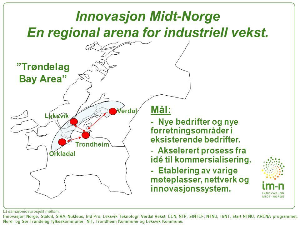 """Idé- generering """"Trøndelag Bay Area"""" Orkladal Verdal Leksvik Et samarbeidsprosjekt mellom: Innovasjon Norge, Statoil, SIVA, Nukleus, Ind-Pro, Leksvik"""