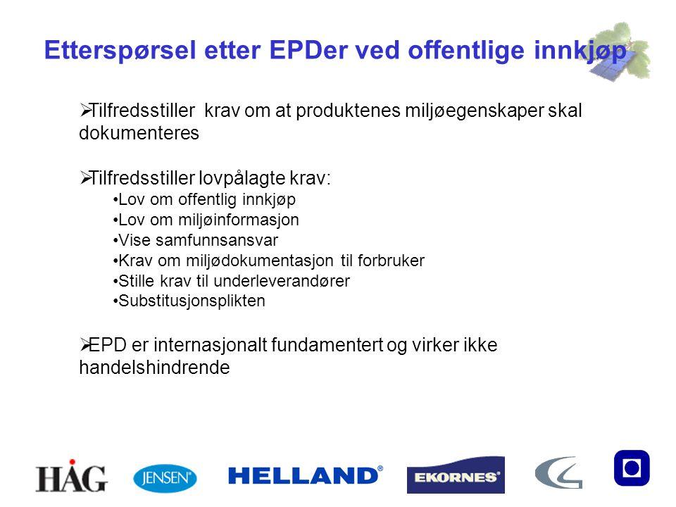 Etterspørsel etter EPDer ved offentlige innkjøp  Tilfredsstiller krav om at produktenes miljøegenskaper skal dokumenteres  Tilfredsstiller lovpålagt