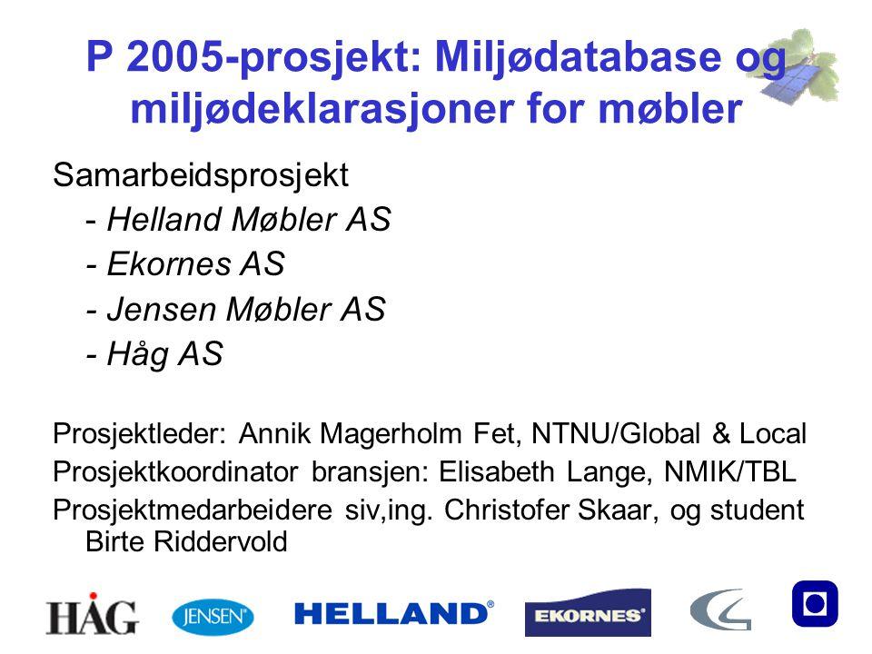 P 2005-prosjekt: Miljødatabase og miljødeklarasjoner for møbler Samarbeidsprosjekt - Helland Møbler AS - Ekornes AS - Jensen Møbler AS - Håg AS Prosje