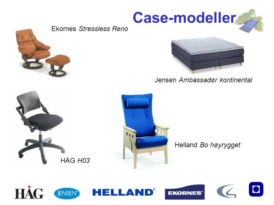 Ekornes Stressless Reno HÅG H03 Helland Bo høyrygget Jensen Ambassadør kontinental Case-modeller