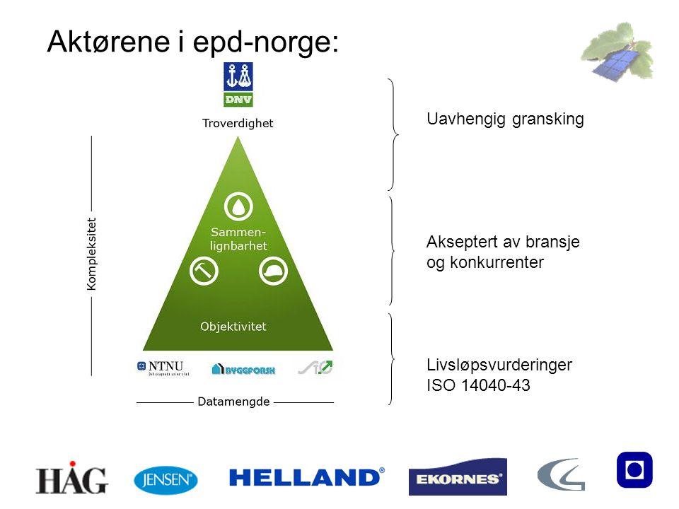 Livsløpsvurderinger ISO 14040-43 Akseptert av bransje og konkurrenter Uavhengig gransking Aktørene i epd-norge:
