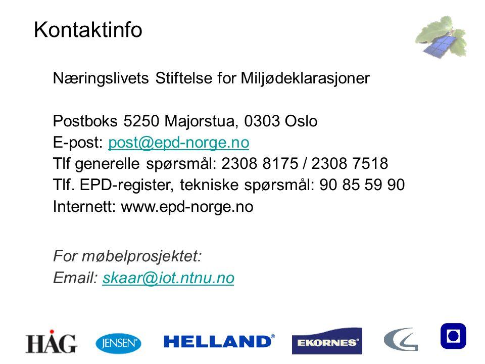 Næringslivets Stiftelse for Miljødeklarasjoner Postboks 5250 Majorstua, 0303 Oslo E-post: post@epd-norge.nopost@epd-norge.no Tlf generelle spørsmål: 2