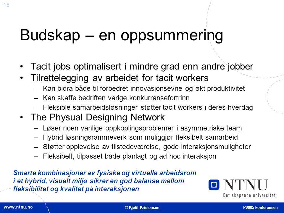 18 Budskap – en oppsummering Tacit jobs optimalisert i mindre grad enn andre jobber Tilrettelegging av arbeidet for tacit workers –Kan bidra både til
