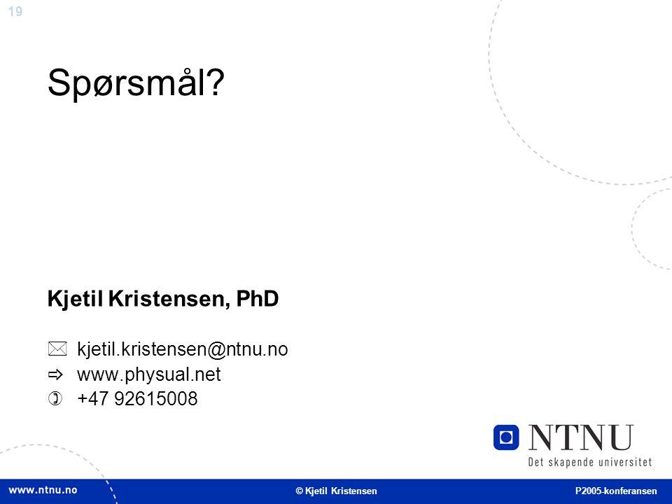 19 Spørsmål? Kjetil Kristensen, PhD  kjetil.kristensen@ntnu.no  www.physual.net  +47 92615008 © Kjetil Kristensen P2005-konferansen