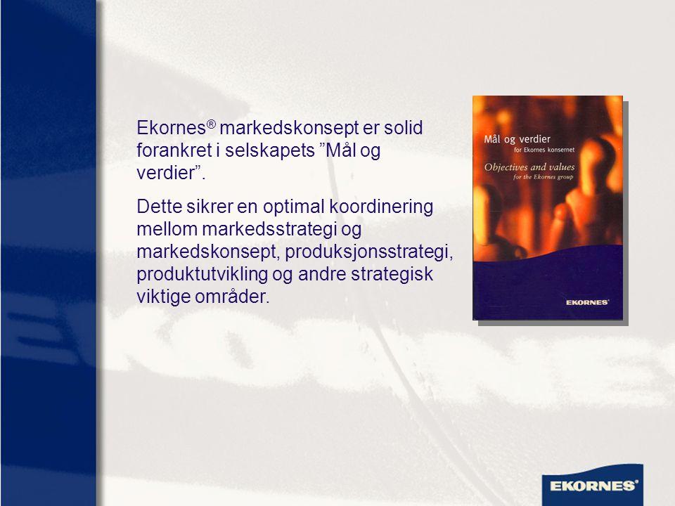 "Ekornes ® markedskonsept er solid forankret i selskapets ""Mål og verdier"". Dette sikrer en optimal koordinering mellom markedsstrategi og markedskonse"