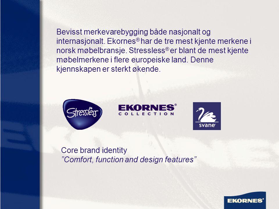 Bevisst merkevarebygging både nasjonalt og internasjonalt. Ekornes ® har de tre mest kjente merkene i norsk møbelbransje. Stressless ® er blant de mes
