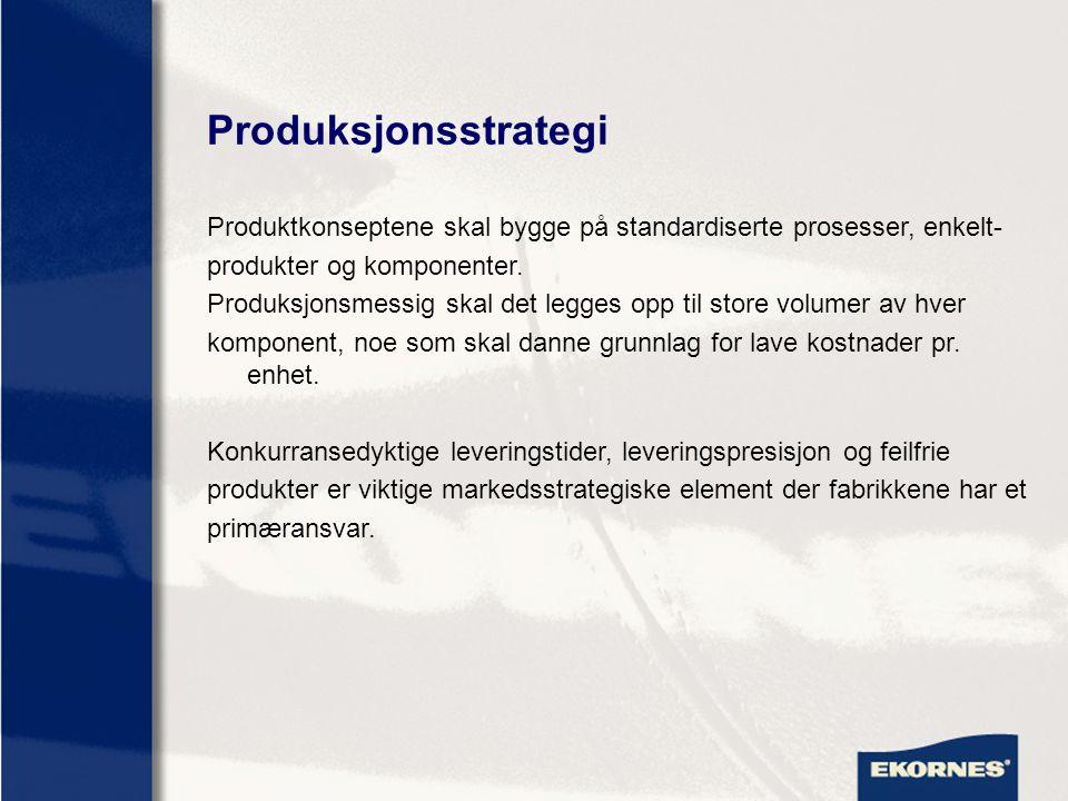 Produksjonsstrategi Produktkonseptene skal bygge på standardiserte prosesser, enkelt- produkter og komponenter. Produksjonsmessig skal det legges opp